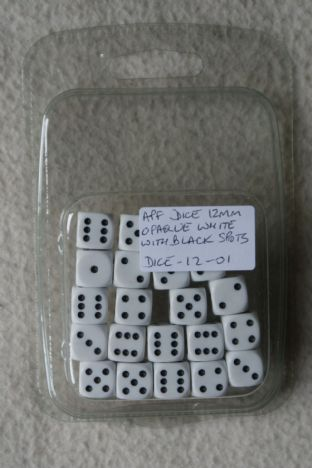 APF Dice-12-01 12mm D6 Opaque White with Black Spots